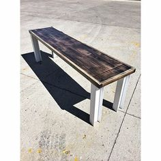 "Cooper bench. Reclaimed oak hardwood flooring in an ebony wash stain and 3"" I…"