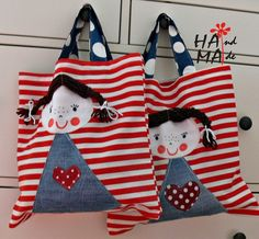 ♥     Dílna Hama    ♥      : Do školky Cute Sewing Projects, Coin Couture, 31 Bags, Denim Crafts, Simple Bags, Fabric Bags, Girls Bags, Quilted Bag, Cloth Bags
