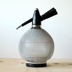 Vintage Soda Siphon Glass Seltzer Bottle With Metal Mesh Cover
