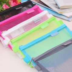 cute kawaii zipper professional examinations transparen makeup cosmetic pouch student grid pen pencil case bag writing supplies
