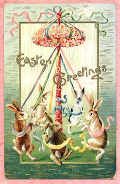 """Bunny Rabbits Dance Around Floral Easter """"Maypole"""" Cute But not Mint Postcard 