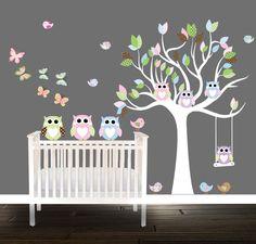 Haylie Owl Wall Decal Owl Girls Nursery Tree butterflies Birds Owls Nursery Tree decal bedding by BeautifulWalls on Etsy https://www.etsy.com/listing/205684054/haylie-owl-wall-decal-owl-girls-nursery
