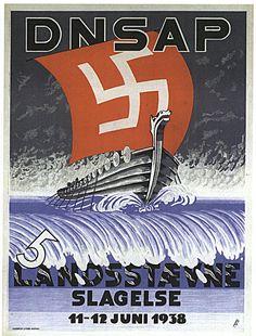 Landsstævne, Slagelse 1938. Kunstindustrimuseet   Plakaten for stævnet i Slagelse viser et vikingeskib for fulde sejl med hagekors lige på vej mod beskueren.