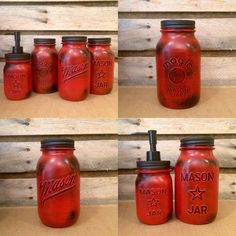 Vintage Red Mason jar canisters, Rustic Red Canister Set, Distressed Red Mason Jars, Red Kitchen Storage, Red and Black Mason Jars Red Mason Jars, Vintage Mason Jars, Painted Mason Jars, Glass Jars, Wine Bottle Crafts, Mason Jar Crafts, Mason Jar Diy, Mason Jar Bathroom, Bathroom Red