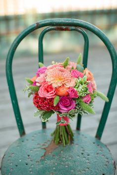 Pink, coral and green bridal bouquet, would be the perfect accent to dark turquoise bridesmaid dresses!