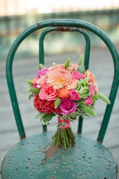 pink and coral bridal bouquet http://www.weddingchicks.com/2013/11/27/brunch-wedding/