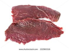 Flank steak in front of white background