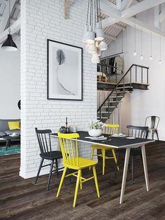 rustikale Akzente Backsteinwand weiß und farbig gestrichene Esszimmerstühle