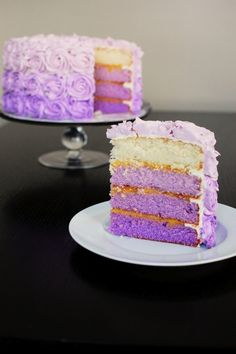 Purple Ombre Cake: Yes, this is an ambitious cake. Four layers of cake, all a different gradient of purple, covered in roses, again piped in varying shades of purple. But believe me, with a little planning, and some practice, anyone can make this cake. I have a few tips on some things not to do, and some things to do when considering making this cake.