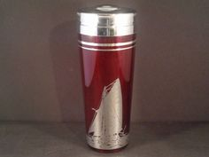 Barware Collection - ART DECO - RUBY GLASS - STERLING OVERLAY SAILBOAT - COCKTAIL SHAKER