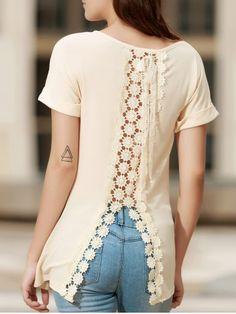 Camiseta de moda del escote redondo manga corta de Embellished de la Mujer de encaje