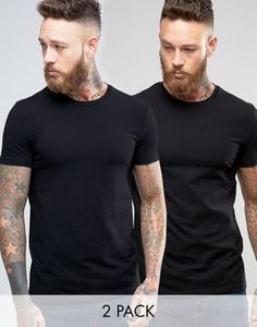 ASOS 2 Pack Muscle Fit T-Shirt In Black With Crew Neck SAVE