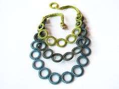 ON SALE Bib fiber necklace crochet / by AliquidTextileJewels, €52.00