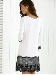 Lace Insert Comfy Dress - WHITE AND BLACK XL