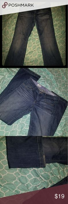 Gap jeans My fav! So comfy, can't fit them now... good used condition, has a little sign of wear on the bottom of the hem as pictured but other than that they have LOTS of life left. I love the long and lean line from gap, I've had some of that line that have lasted over 10 years. GAP Jeans