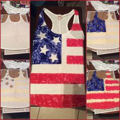 4th of July project! - Cheap tank, acrylic paint, tape and time :)
