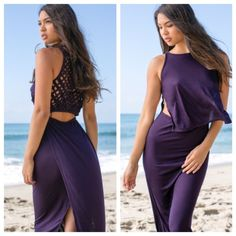 NWT Indah Roam Dress in Purple NWT, never worn. Beautiful basket weave back, dark purple, this dress is stunning. In perfect condition. More pixs to come Indah Dresses
