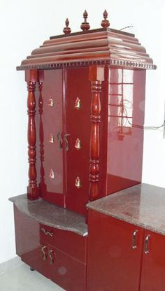 Get some ideas on modern pooja room designs for your flats and apartments. Here are some stylish modern pooja room designs that you can build in your house. Temple Design For Home, Mandir Design, Pooja Mandir, Pooja Room Door Design, Green Interior Design, Puja Room, Home Decor Furniture, Boys Furniture, Smart Furniture