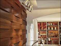 wall panels ideas, materials and installation tips 3d Wall Panels, Cafe Bar, Wall Treatments, Wood Paneling, Architecture Details, Blinds, 3 D, Bookcase, Stairs