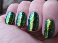 Gelish - Black Shadow, with Artsyfartsy Crafts glitter Faerie Wing.