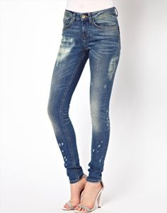ASOS Ridley Supersoft High Waisted  Ultra Skinny Jeans In Bleach Splash Vintage  Wash