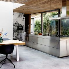 Stainless Steel Island, Stainless Kitchen, Interior Architecture, Interior Design, Take Me Home, Modern Kitchen Design, Scandinavian Interior, Cool Kitchens, Kitchen Dining