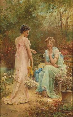 ⊰ Posing with Posies ⊱ paintings  illustrations of women  children with flowers -  Hans Zatzka.