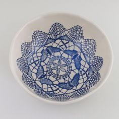 natural and blue lace texture stoneware bowl from the oceanic collection, by OJEA STUDIO. Handmade in Galicia, Spain.