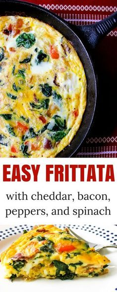 Cheesy Frittata with Bacon, Peppers, Spinach, and Onion - and brunch Breakfast Dishes, Breakfast Time, Best Breakfast, Breakfast Recipes, Breakfast Casserole, Breakfast Ideas, Breakfast Frittata, Breakfast Potatoes, Egg Casserole
