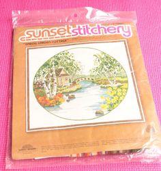 Vintage 1978 Sunset Stitchery Spring Garden Cottage Charlene Gerrish Wool Yarn #SunsetDesigns