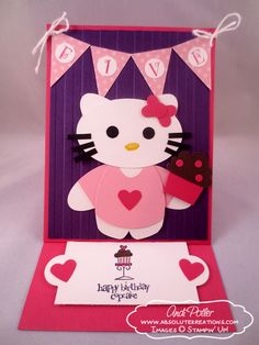 Hello Kitty Punch Art Birthday Easel Card by Andi Potler, Independent Stampin Up Demonstrator