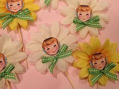 Daisy Girl Cupcake toppers Set of Six for Birthday by JeanKnee, $8.00