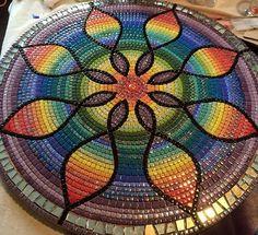 Mosaic rainbow mandala table top