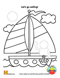 Free Printable: Sailboat Coloring Sheet #alextoys #printable #summer | alexbrands.com