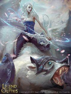 Artist: Unknown name aka Datouxiaozuo - Title: XXX.1 - Card: Ice Huntress Floriana