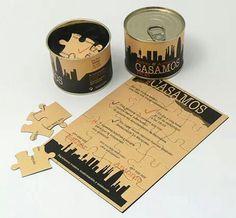 puzzle invitation in can Wedding Cards, Diy Wedding, Wedding Events, Rustic Wedding, Dream Wedding, Wedding Day, Weddings, Diy Invitations, Wedding Invitation Design
