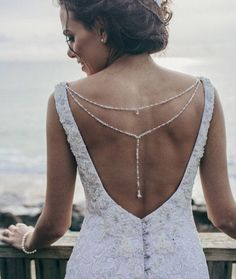 Beaded bridal back necklace back necklace with by LaLunaCouture
