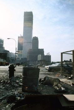 View of the World Trade Center under construction from Duane Street, Manhattan, 1970