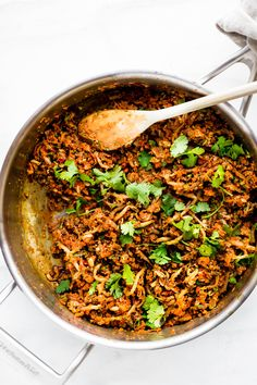 """This Quick Carrot Rice Breakfast Nasi Goreng is the perfect way to utilize those leftover veggies! A stir fried """"carrot rice"""" mixed with egg and sausage. A Indonesian style breakfast Nasi Goreng that's paleo friendly, super flavorful, and packed full of protein and veggies! Cook and serve all in 30 minutes!"""