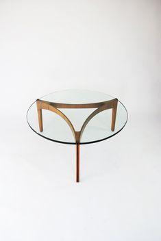 Sven Ellekaer; Teak, Ebonized Inlay and Glass Coffee Table for Christian Linneberg Møbelfabrik, 1962.