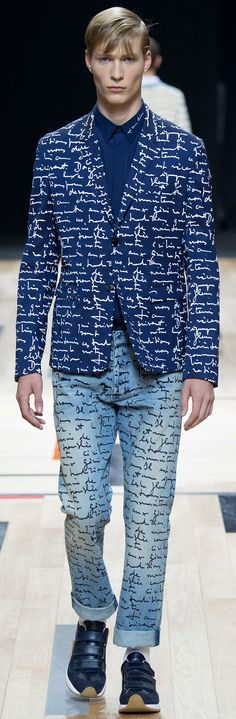 Dior Homme - Spring 2015 – handwriting print men's coat and pants