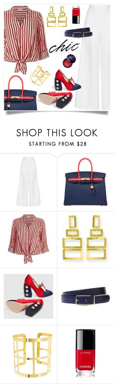 """""""Gucci"""" by tina-pieterse ❤ liked on Polyvore featuring Miguelina, Hermès, River Island, Gucci, Longchamp, Chanel, Charlotte Russe and CasualChic"""