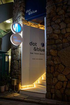 bar。飲食店。看板。サイン。「dot&blue」建築・店舗デザイン;名古屋 スーパーボギー http://www.bogey.co.jp