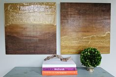 DIY Wall Art: Ombre Diptych made from stained wood