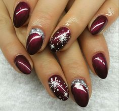 36 classy winter nails art design to inspire winter nail designs, winter na Classy Nail Designs, Colorful Nail Designs, Toe Nail Designs, Acrylic Nail Designs, Nails Design, Design Design, Christmas Nail Art Designs, Winter Nail Designs, Winter Nail Art