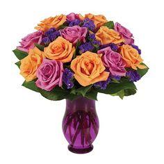Purple & orange rose flower bouquet for sale at Ingallina's