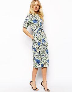 Midi Wiggle Dress In Floral Print