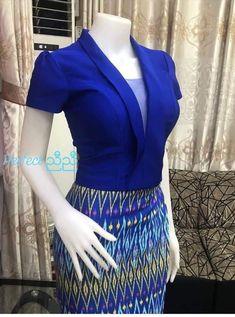 Dress Design Patterns, Vintage Dress Patterns, Traditional Dresses Designs, Traditional Outfits, African Fashion Skirts, Women's Fashion Dresses, Myanmar Dress Design, Myanmar Traditional Dress, Fashion Illustration Dresses