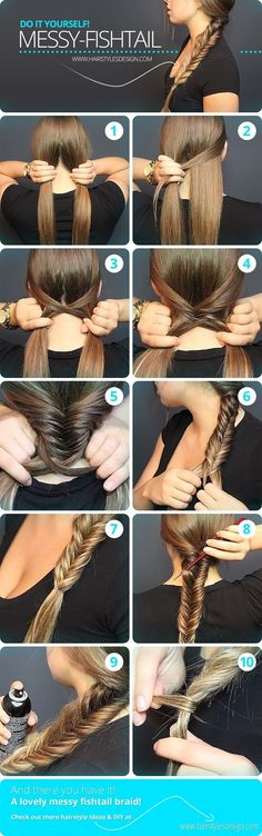Messy Fishtail Braid Tutorial: Side Loose Braided Hairstyles - Great step by step instructions with photos!: Messy Fishtail Braid Tutorial: Side Loose Braided Hairstyles - Great step by step instructions with photos! Messy Fishtail Braids, Quick Braids, How To Fishtail, How To Make Braids, Hair Braiding Tutorial, How To Braid Hair, Fishtail Braid Styles, Waterfall Braid Tutorial, Hairstyle Tutorials