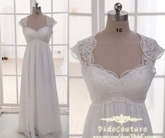 Romantic Cap Sleeves Lace Chiffon Bridal Gown,Beach Wedding Dress,Lace Bridal Dress on Etsy, $149.00